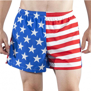 BOA Mens Stretch 3.75 V-Notch Running Short US Flag