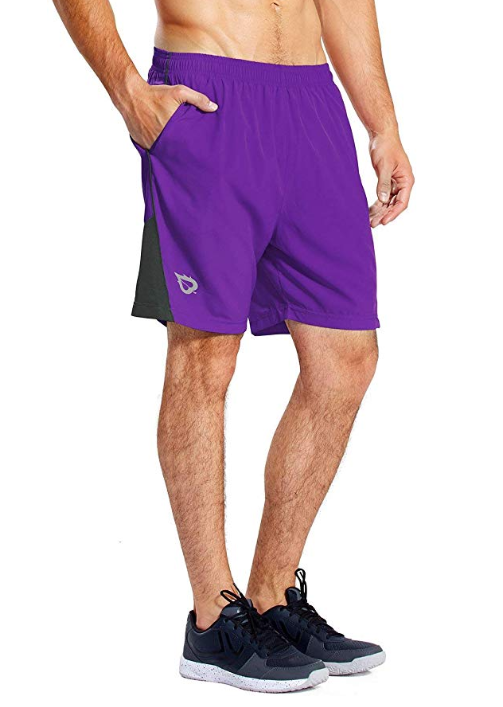 Baleaf Men's 7 Quick Dry Workout Running Shorts Mesh Liner Zip Pockets