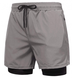 COOFANDY Men's 2 in 1 Active Short Elasticity Lightweight Quick Dry Jogger Shorts