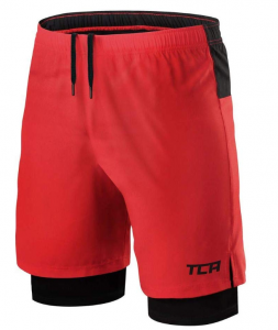TCA Men's Ultra 2 in 1 Running Shorts with Inner Compression Short and Zip Pocket
