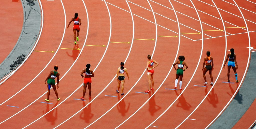 Women getting ready for a race